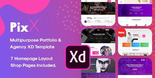 Edit PixX — Multipurpose Portfolio & Agency Adobe XD Template