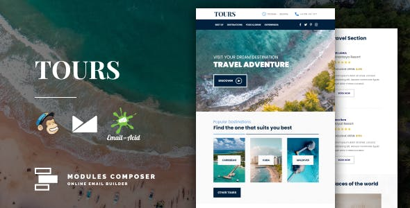 Tours - Responsive Email for Hotels, Booking & Traveling with Online Builder