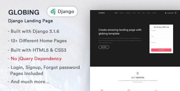 Globing - Django Landing Page Template - Corporate Site Templates