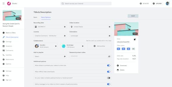 Vidzy Studio - Ultimate Video Management UI Kit