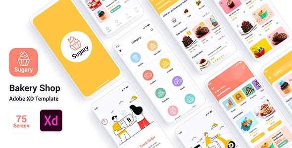Sugary – Bakery Shop Adobe XD Template - Food Retail
