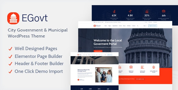 EGovt - City Government WordPress Theme - Political Nonprofit