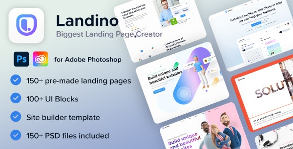 Landino - Landing Page Builder - Photoshop UI Templates