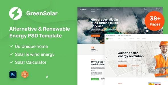 GreenSolar - Alternative & Renewable Energy PSD template - Business Corporate