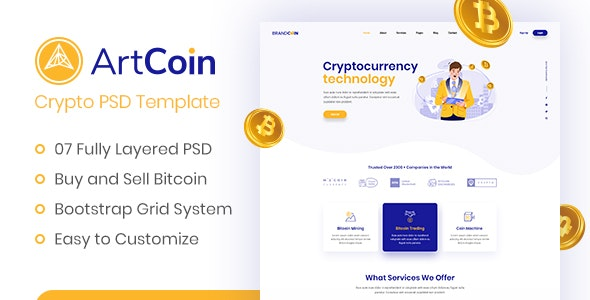 ArtCoin |  Bitcoin and Cryptocurrency PSD Template - Marketing Corporate