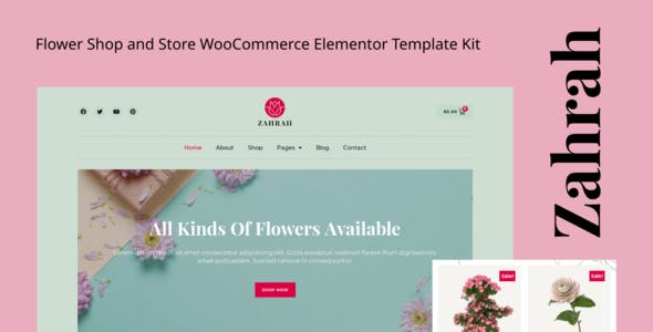 Zahrah - Flower Shop & Store WooCommerce Elementor Template Kit