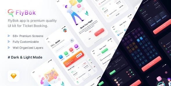 FlyBok - Ticket Booking UI Kit For Sketch