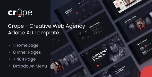 Crope - Creative Web Agency Adobe XD Template - Adobe XD UI Templates