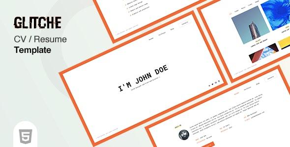 Glitche - CV Template - Virtual Business Card Personal