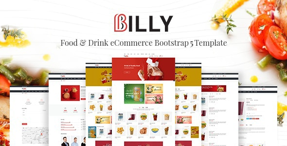 Billy Food & Drink eCommerce Bootstrap5 Template