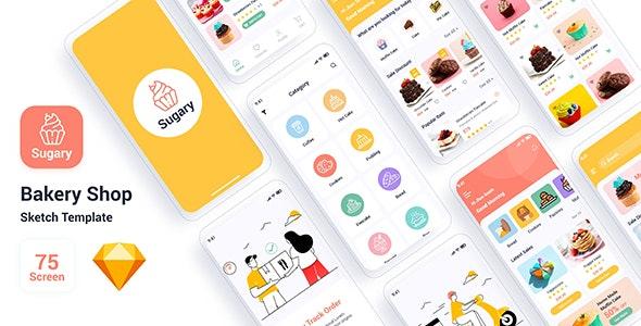 Sugary – Bakery Shop Sketch Template - Sketch UI Templates