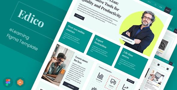 Edico - eLearning Figma Template - Business Corporate