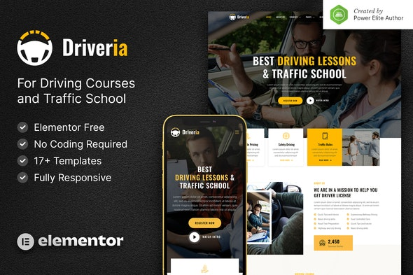 Driveria – Driving Course & Traffic School Elementor Template Kit - Business & Services Elementor