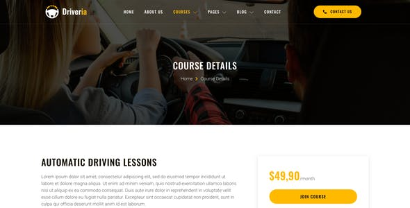 Driveria – Driving Course & Traffic School Elementor Template Kit