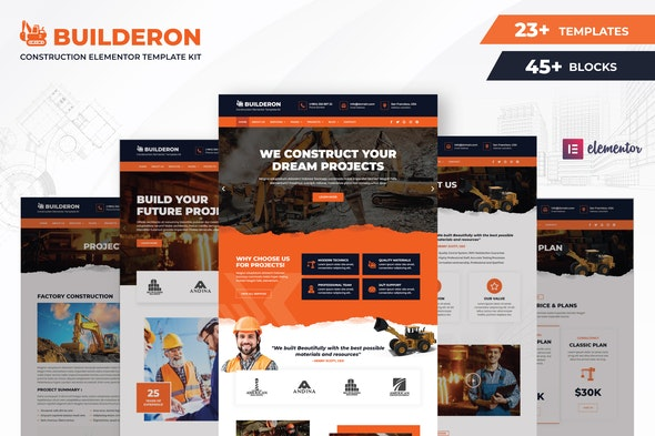 Builderon – Construction Elementor Template Kit - Real Estate & Construction Elementor