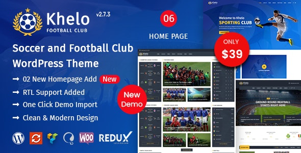 Khelo - Soccer & Sports WordPress Theme - Entertainment WordPress