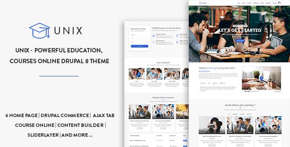 Unix - Powerful Education, Courses Online Drupal 9 Theme