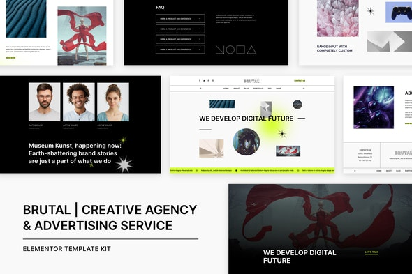 Brutal | Creative Agency & Advertising Service Elementor Template Kit - Creative & Design Elementor
