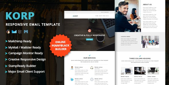 KORP - Multipurpose Responsive Email Template with Online StampReady & Mailchimp Builders