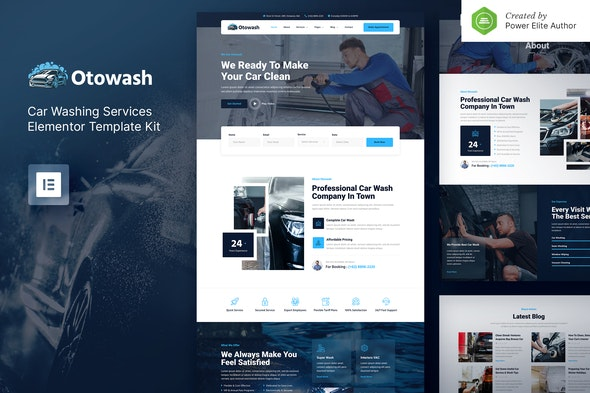 Otowash – Car Washing & Cleaning Services Elementor Template Kit - Business & Services Elementor