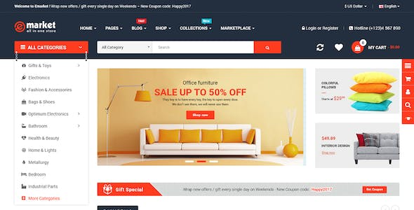 eMarket - Multipurpose MarketPlace OpenCart 3 Theme (34+ Homepages & Mobile Layouts Included)