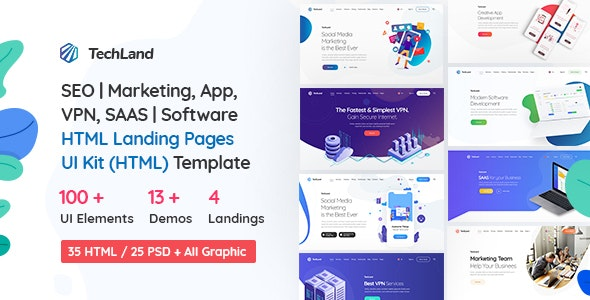 TechLand - SEO Marketing, SAAS Software, App, VPN Landing pages + UI Kit HTML Template - Technology Site Templates