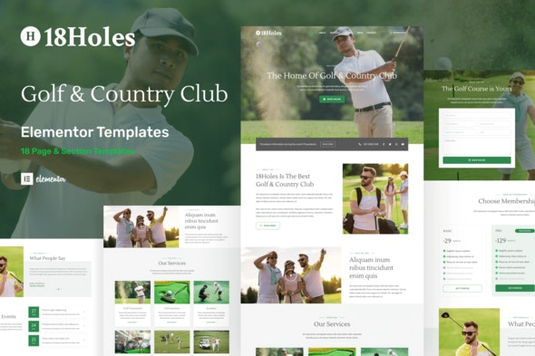 18Holes - Golf & Country Club Website Elementor Template Kit - Business & Services Elementor