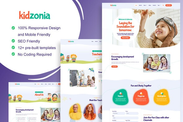 Kidzonia - Kindergarten & Child Care Elementor Template Kit - Kids & Babies Elementor