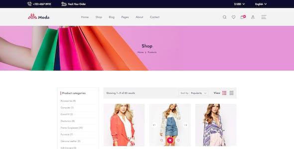Moda - Fashion Ecommerce XD Template.