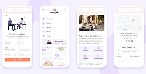 Bon Appetit – Restaurant App Figma Template