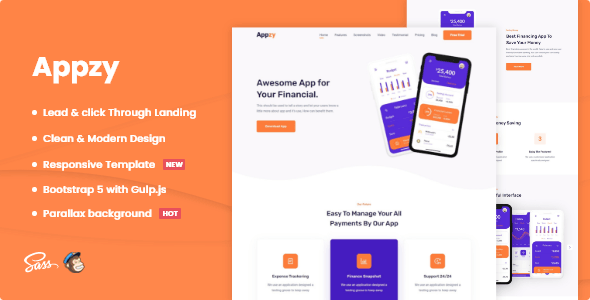 Appzy - App HTML Landing Page Template