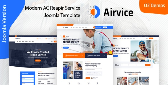 Airvice - AC Repair Services Joomla 4 Template - Business Corporate