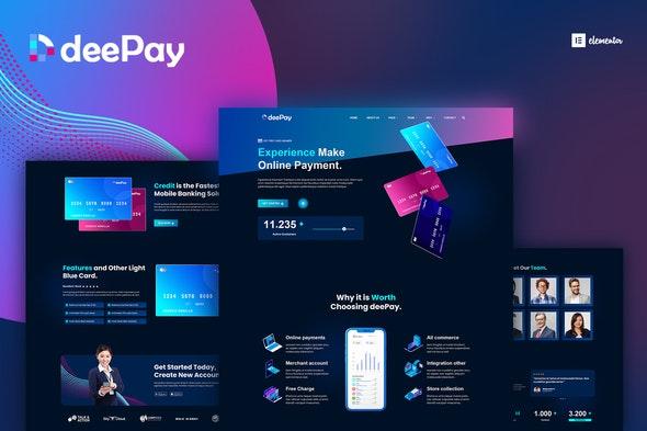 DeePay - Card Payment & Online Banking Elementor Template Kit - Technology & Apps Elementor