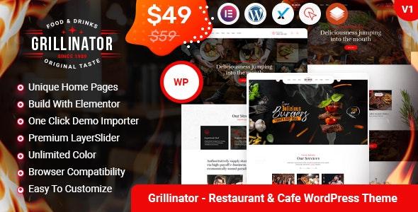 Grillinator - Food Restaurant Cafe Bar Grill & Bistro WordPress Theme - Restaurants & Cafes Entertainment