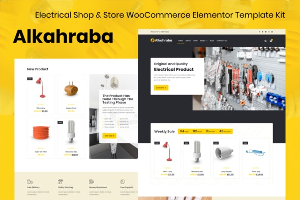 free download Alkahraba - Electrical Shop & WooCommerce Store Elementor Template Kit