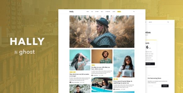 Hally – Minimal Masonry Theme for Ghost - Ghost Themes Blogging