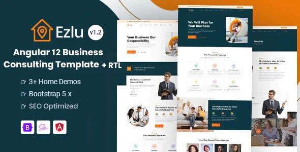 Angular 12 Business Consulting Template - Ezlu