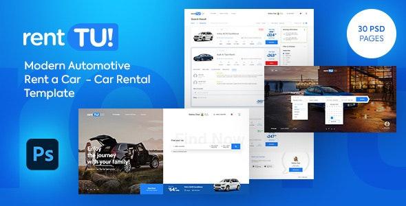 rentTU! Modern Rent a Car - Car Rental PSD Template - Photoshop UI Templates