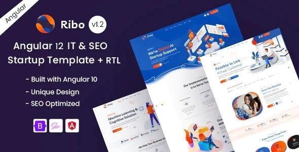Angular 12 IT & SEO Startup Template - Ribo - Technology Site Templates