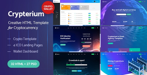 Crypterium - Cryptocurrency & ICO Landing Pages HTML Pack + Wallet Dashboard Template - Technology Site Templates