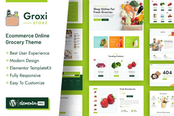 Groxi - Grocery Store Elementor Template Kit - Shopping & eCommerce Elementor