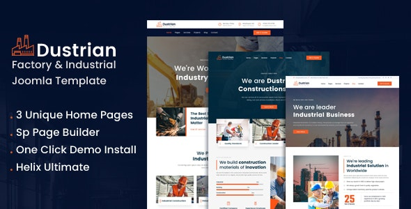 Dustrian - Factory & Industrial Joomla 4 Template With Page Bulder - Business Corporate