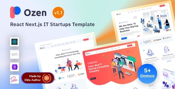 React Next IT Startup & Software Solutions Template - Ozen - Technology Site Templates