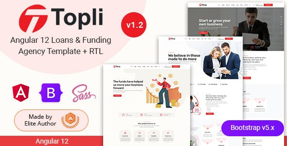 Angular 12 Loans & Funding Agency Template - Topli