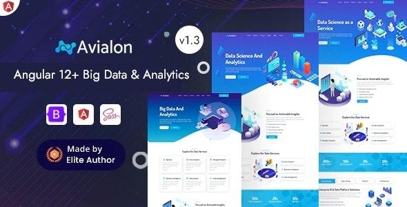 Angular 12 Big Data Analytics & AI Startup - Avialon - Business Corporate