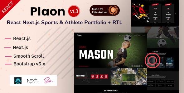 React Next Sports & Athlete Personal Portfolio Template - Plaon