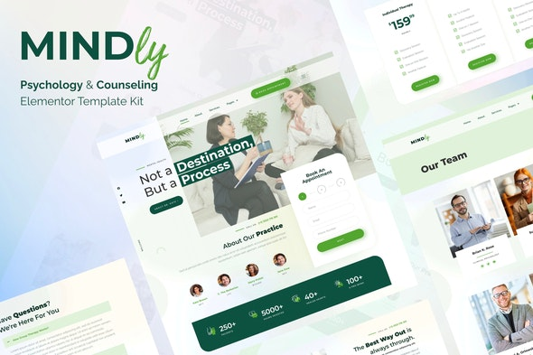 Mindly - Psychology, Therapy & Counseling Elementor Template Kit - Health & Medical Elementor