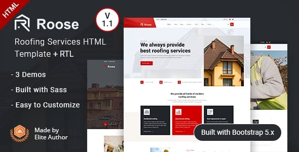 Renovation & Roofing Services HTML Template - Roose