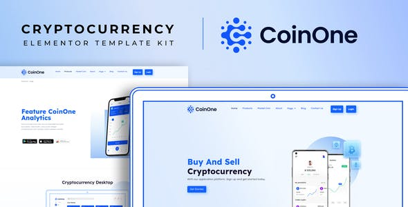 CoinOne - Cryptocurrency Elementor Template Kit