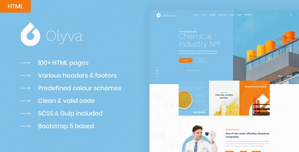 Olyva - Сhemical Industry Bootstrap 5 HTML Template - Business Corporate